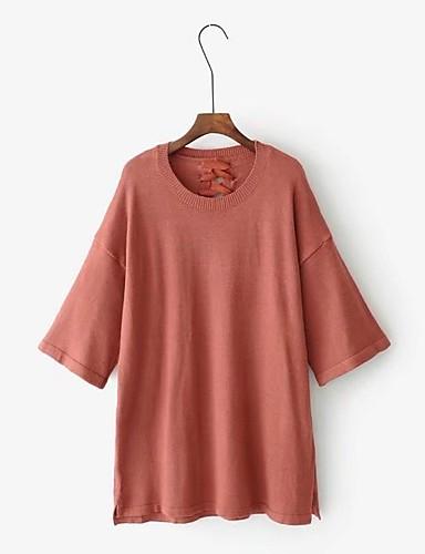 Damen Lang Pullover-Ausgehen Lässig/Alltäglich Solide Rundhalsausschnitt Halbe Ärmel Baumwolle Andere Mittel Dick Mikro-elastisch