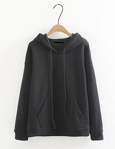 Damen Kapuzenshirt Lässig/Alltäglich Einfach Solide Mikro-elastisch Baumwolle Andere