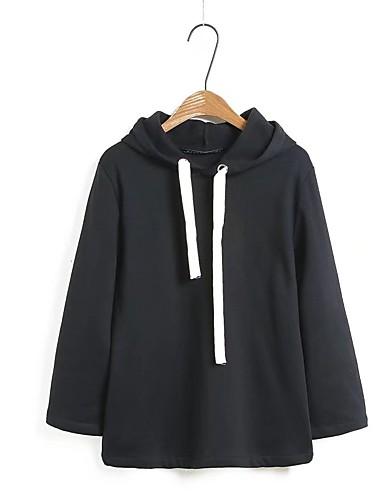 Damen Kapuzenshirt Ausgehen Lässig/Alltäglich Niedlich Aktiv Solide Mikro-elastisch Baumwolle Andere