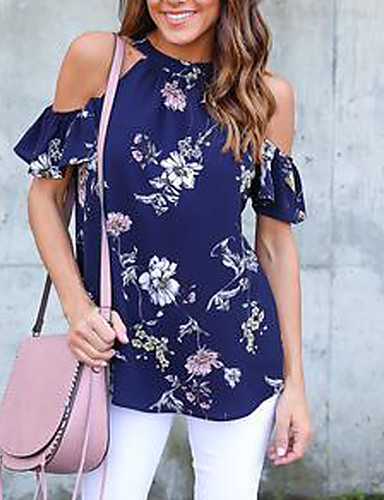 Damen Einfarbig Hemd, Rundhalsausschnitt Druck Blütenblatt Ärmel