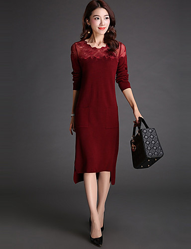 Damen Hülle Kleid-Ausgehen Solide Asymmetrisch Midi Langarm Baumwolle Winter Herbst Hohe Taillenlinie Mikro-elastisch Mittel