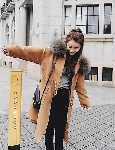 Damen Solide Einfach Freizeit Alltag Arbeit Mantel Winter Langarm Lang Polyester