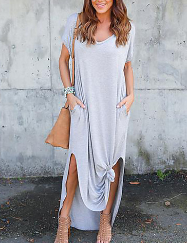 Damen Hülle Kleid-Ausgehen Lässig/Alltäglich Einfach Sexy Solide Rundhalsausschnitt Volle Länge Kurzarm Polyester Mittlere Hüfthöhe