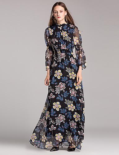 Damen Hülle / Swing Kleid Blumen Knielang Hohe Taillenlinie
