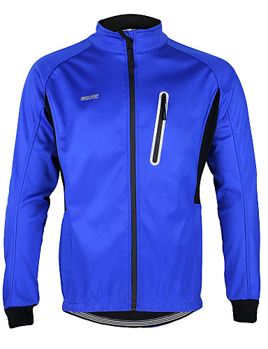 cheap Cycling Clothing-Arsuxeo Men's Cycling Jacket Bike Jacket / Top Windproof, Waterproof, Fleece Lining Solid Colored Polyester, Spandex, Fleece Winter Dark Blue / Army Green / Sky Blue Road Cycling Relaxed Fit Bike Wear