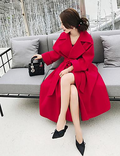 Damen Solide Einfach Freizeit Alltag Arbeit Mantel,Hemdkragen Winter Langarm Lang Baumwolle Acryl Polyester