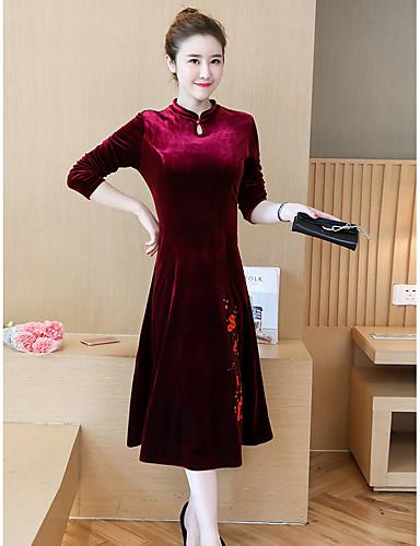 Damen A-Linie Hülle Kleid-Ausgehen Einfach Stickerei Ständer Midi Langarm Baumwolle Hohe Taillenlinie Mikro-elastisch Mittel