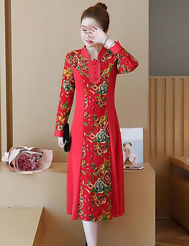 Damen Ausgehen Retro Chinoiserie Street Schick A-Linie Hülle Kleid Geometrisch Midi