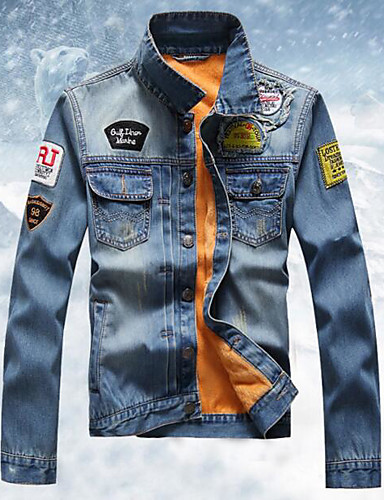 Herrn - Solide Einfach Jeansjacke Baumwolle