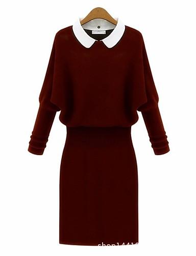 Damen Bodycon Kleid-Alltag Solide Rundhalsausschnitt Midi 3/4 Ärmel Baumwolle Polyester Winter Herbst Hohe Taillenlinie strenchy Dick