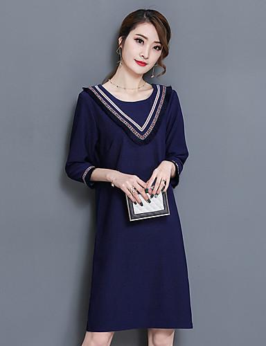Damen Strickware Kleid-Lässig/Alltäglich Solide Rundhalsausschnitt Übers Knie 3/4 Ärmel Baumwolle Polyester Mittlere Hüfthöhe