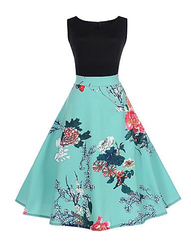 Damen Ausgehen A-Linie Kleid Blumen / Patchwork Übers Knie
