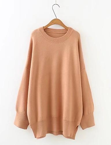 Damen Lang Pullover-Ausgehen Lässig/Alltäglich Solide Rundhalsausschnitt Langarm Baumwolle Andere Mittel Dick Mikro-elastisch