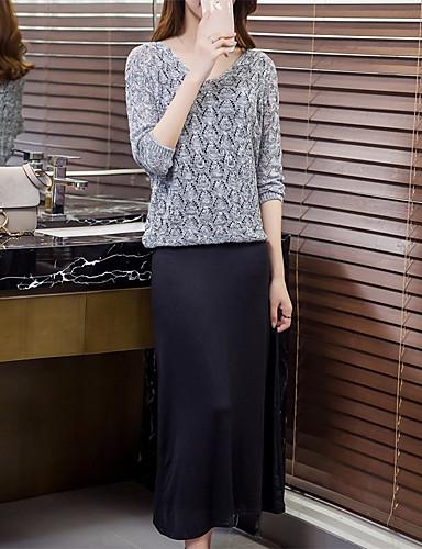 Damen Langarm Pullover - Solide V-Ausschnitt