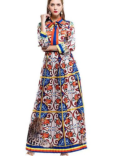 Damen Ausgehen Swing Kleid Druck Maxi Ständer Hohe Hüfthöhe