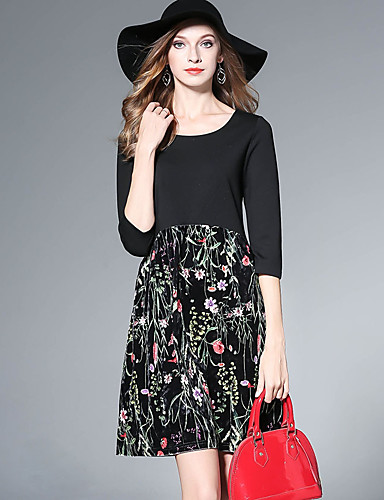 Damen Ausgehen Hülle Kleid Blumen Übers Knie Hohe Taillenlinie