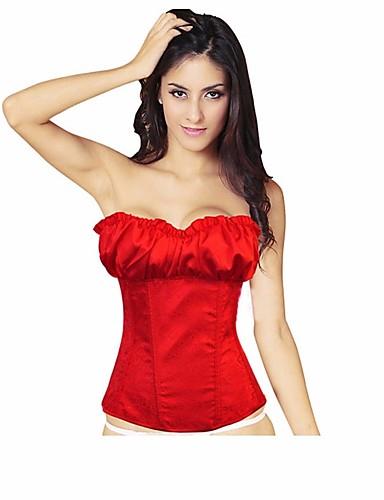 voordelige Kerstwinkel-Dames Veters Korsetten - Geborduurd Grote maten Rood Beige Grijs XXXXL XXXXXL XXXXXXL / Sexy