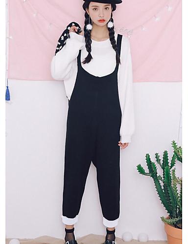 Damen Solide Street Schick Ausgehen Lässig/Alltäglich Pullover Hose Anzüge,Rundhalsausschnitt Herbst Winter Langarm Baumwolle