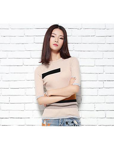 Damen Standard Pullover-Alltag Niedlich Einfarbig Rundhalsausschnitt Langarm Baumwolle Polyester Winter Herbst Mittel Dehnbar