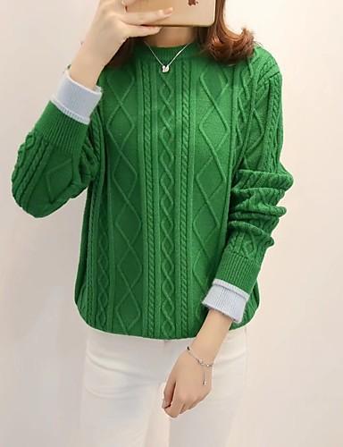 Damen Standard Pullover-Lässig/Alltäglich Arbeit Solide Rundhalsausschnitt Langarm Baumwolle Andere Mittel Dick Mikro-elastisch