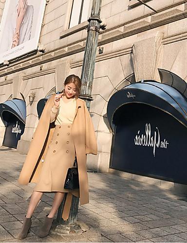 Damen Solide Sexy Klub Mantel,Hemdkragen Winter Langarm Lang Wolle