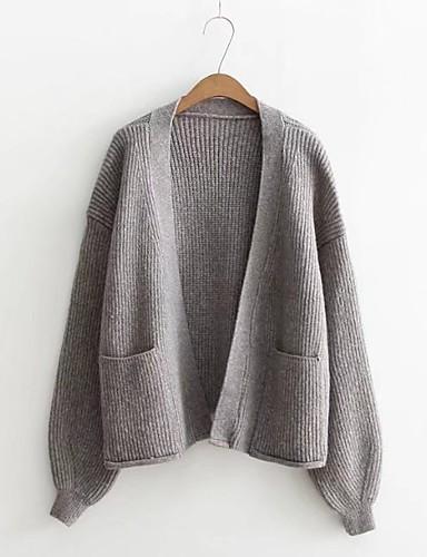 Damen Standard Strickjacke-Ausgehen Lässig/Alltäglich Solide Tiefes V Langarm Baumwolle Andere Dünn Mittel Mikro-elastisch