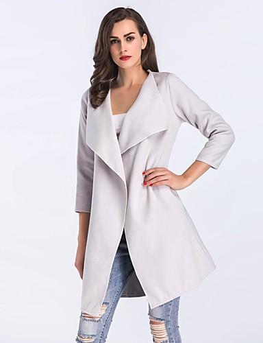 Płaszcz Normalny Damskie Prosty Vintage Na co dzień Zima Jesień Codzienny Wyjściowe Jendolity kolor Rayon