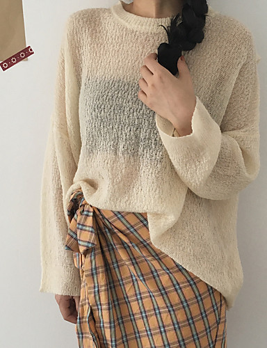 Damen Standard Pullover-Lässig/Alltäglich Solide Rundhalsausschnitt Langarm Baumwolle Acryl Dünn Mittel Mikro-elastisch