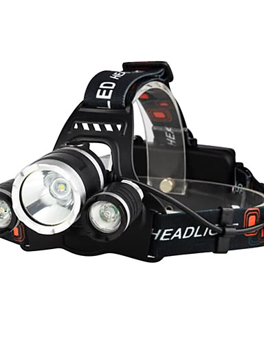 cheap Cycling-Headlamps Bike Light Headlight LED Cree® XM-L T6 3 Emitters 3000 lm 4 Mode with Batteries and Chargers Waterproof Impact Resistant Rechargeable Camping / Hiking / Caving Everyday Use Police / Military