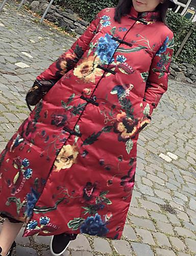 Damen Daunenjacke Mantel,Lang Retro Street Schick Lässig/Alltäglich Druck-Polyester Langarm