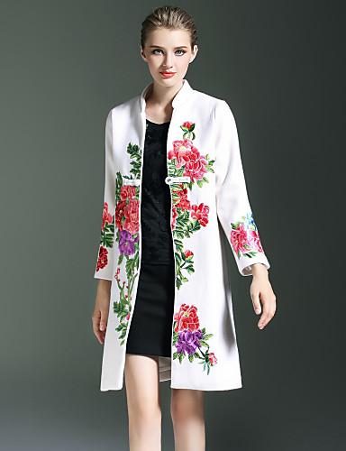 女性用 コート, ボヘミアン スタンド ビンテージ 刺繍