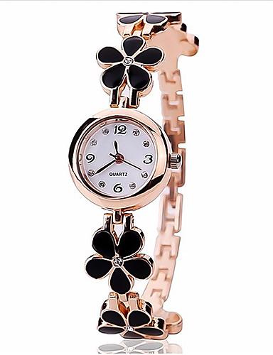 Women's Bracelet Watch Quartz Black / White Analog Ladies Flower - White Black