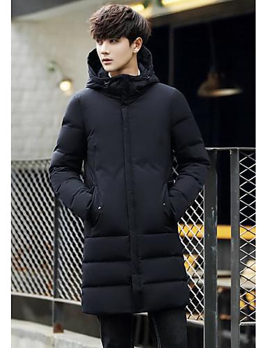 Herren Daunenjacke Mantel,Lang Einfach Ausgehen Lässig/Alltäglich Solide-Baumwolle Acryl Polyester Langarm
