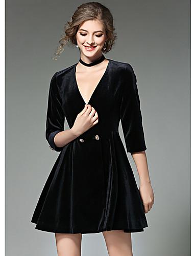 Damen Ausgehen Hülle Kleid Solide Übers Knie V-Ausschnitt Hohe Hüfthöhe