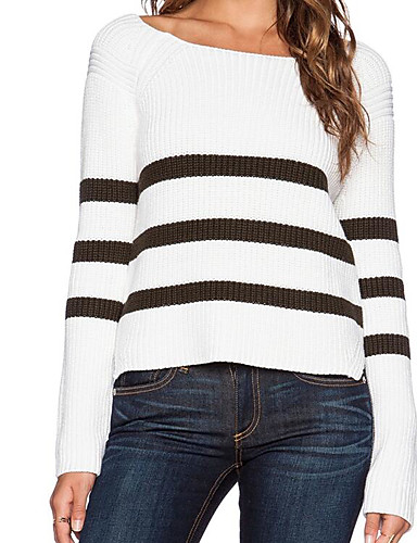Damen Standard Strickjacke-Lässig/Alltäglich Gestreift Rundhalsausschnitt Langarm Acryl Herbst Winter Mittel Mikro-elastisch