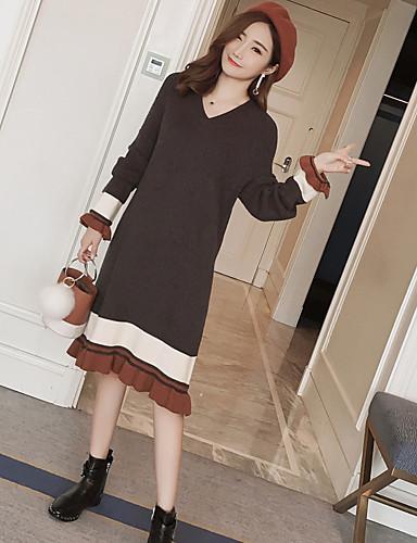 Damen Strickware Kleid Einfarbig Midi