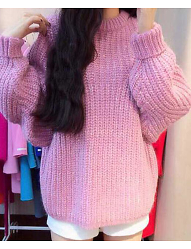 Damen Standard Pullover-Lässig/Alltäglich Solide Rundhalsausschnitt Langarm Baumwolle Acryl Winter Herbst Mittel Mikro-elastisch