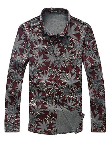 voordelige Herenoverhemden-Heren Boho Overhemd Katoen Bloemen Buttondown boord Rood / Lange mouw
