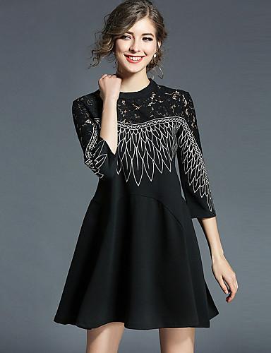 Damskie Moda miejska Linia A Luźna Little Black Sukienka - Haft, Koronka Wysoka Talia Przed kolano
