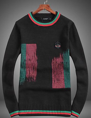 Herren Standard Pullover-Lässig/Alltäglich Druck Rundhalsausschnitt Langarm Baumwolle Mittel Mikro-elastisch