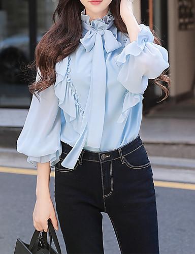povoljno Ženske majice-Majica Žene - Vintage Izlasci / Rad Jednobojni Lantern rukav Uski okrugli izrez Nabori