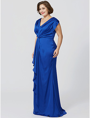 Sheath / Column V Neck Floor Length Chiffon Over Satin Mother of the Bride Dress with Pleats Criss Cross by LAN TING BRIDE®