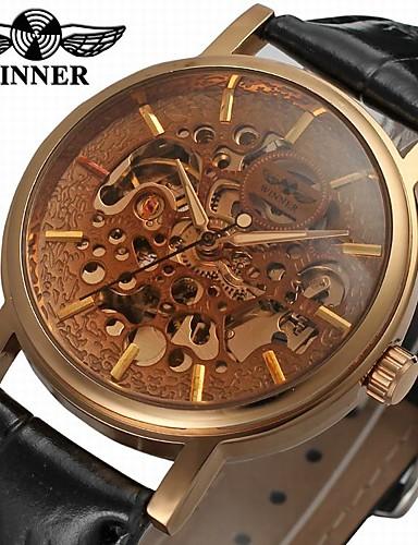 WINNER Męskie Zegarek na nadgarstek / zegarek mechaniczny Hollow Grawerowanie Skóra Pasmo Vintage / Na co dzień Czarny / Nakręcanie automatyczne