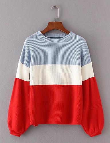 Damen Standard Pullover-Lässig/Alltäglich Arbeit Einfarbig Rundhalsausschnitt Langarm Kunst-Pelz Mittel Mikro-elastisch