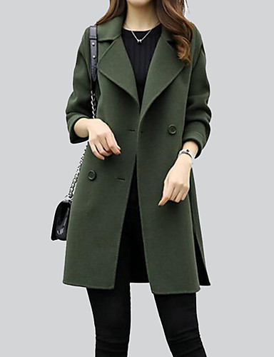 Women's Going out Cotton Coat - Solid Colored Shirt Collar