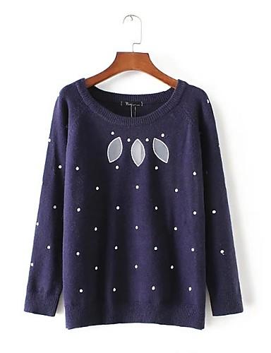 Damen Standard Pullover-Lässig/Alltäglich Solide Druck Rundhalsausschnitt Langarm Andere Dünn Dehnbar
