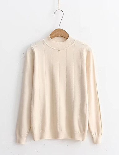 Damen Standard Pullover-Lässig/Alltäglich Ausgehen Solide Rundhalsausschnitt Langarm Baumwolle Andere Dick Mittel Mikro-elastisch