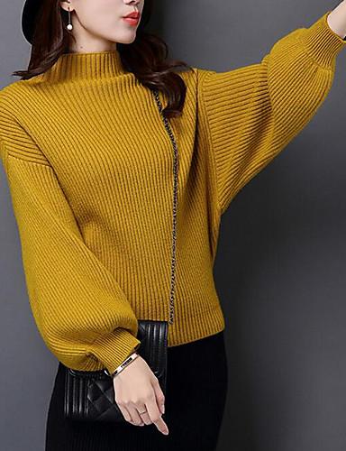 Damen Standard Pullover-Alltag Freizeit Solide Ständer Langarm Acryl Dick Dehnbar