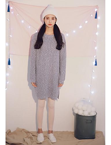 Damen Standard Pullover-Lässig/Alltäglich Solide Rundhalsausschnitt Langarm Baumwolle Acryl Mittel Mikro-elastisch