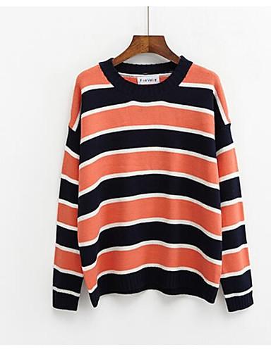 Damen Pullover Ausgehen Lässig/Alltäglich Gestreift Acryl